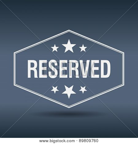 Reserved Hexagonal White Vintage Retro Style Label