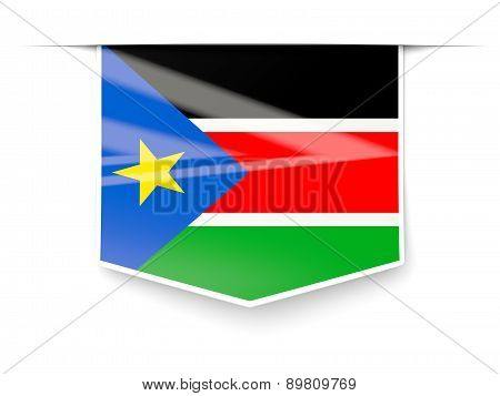 Square Label With Flag Of South Sudan