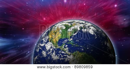 Planet earth against outer space