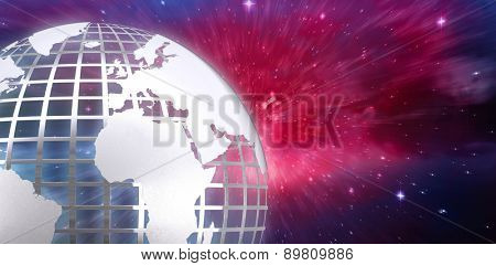 Silver earth against outer space