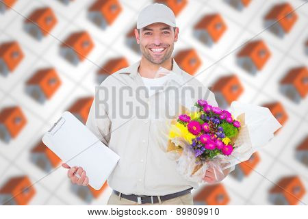 Happy flower delivery man holding clipboard against red roofed 3d houses