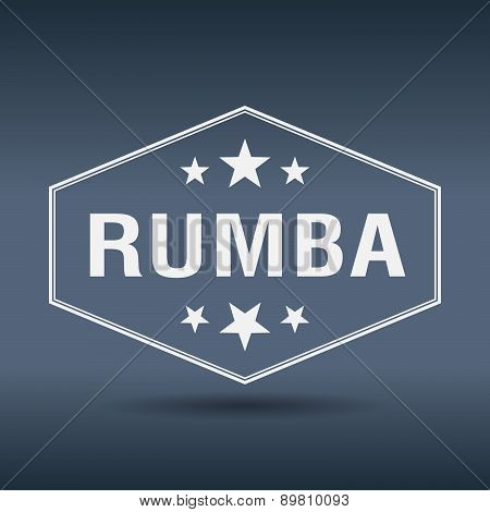 Rumba Hexagonal White Vintage Retro Style Label