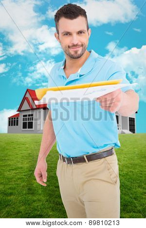 Postman with letter against blue sky