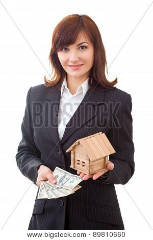 adult realtor with money and wooden small house,it could be the tenant too. All isolated on white ba