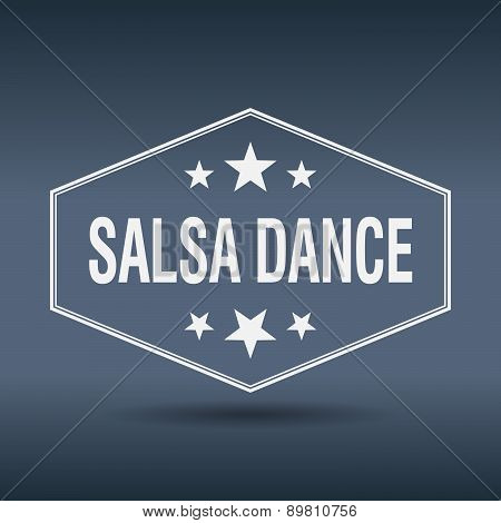 Salsa Dance Hexagonal White Vintage Retro Style Label