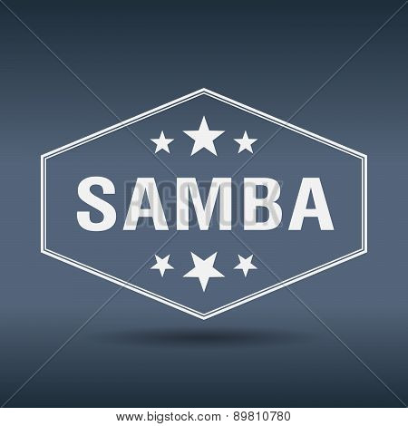 Samba Hexagonal White Vintage Retro Style Label