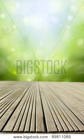 Empty floor in front of abstract background
