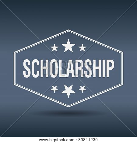 Scholarship Hexagonal White Vintage Retro Style Label