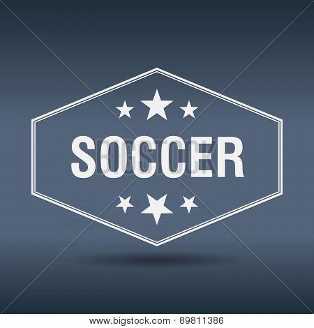 Soccer Hexagonal White Vintage Retro Style Label