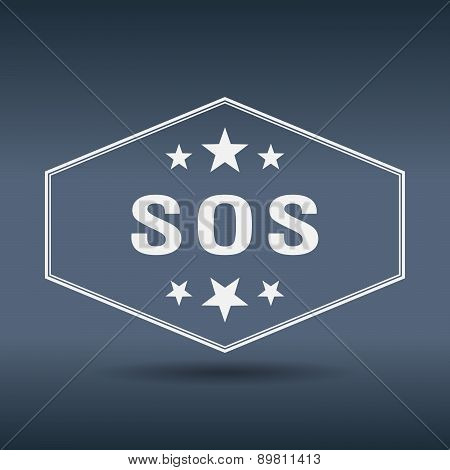 Sos Hexagonal White Vintage Retro Style Label