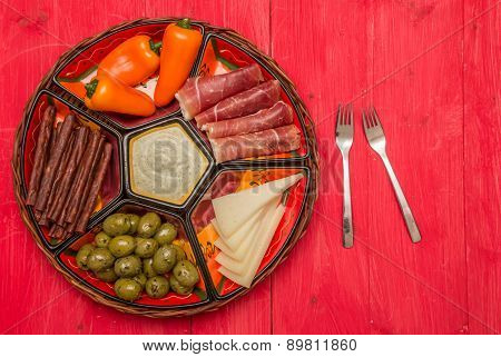Basket With Several Spanish Tapas