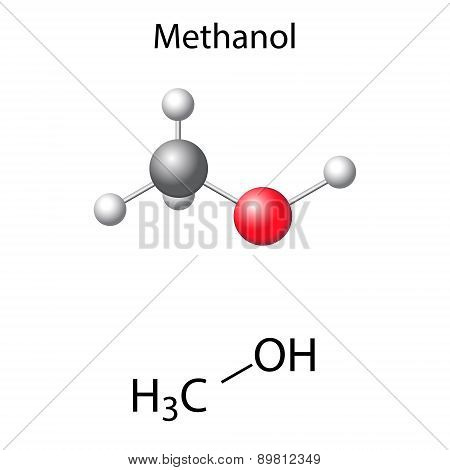 Structural Chemical Formula And Model Of Methanol Molecule