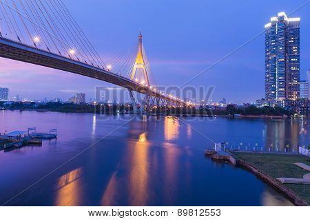 Beauty of of sunset at Suspension bridge Bhumibol bridge