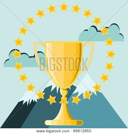 Business Success,  Trophy Cup On Top Of The Mountain Peak, Vector Illustration.
