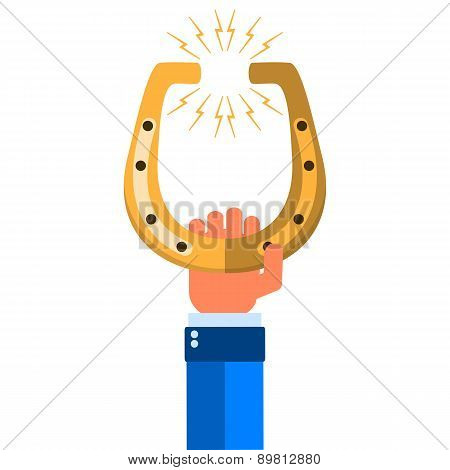 Golden Horseshoe. Illustration On White Background For Design