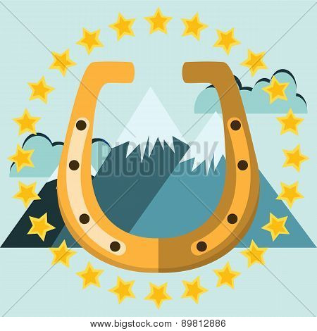 Golden Horseshoe With Mountains And Stars. Illustration On White Background For Design