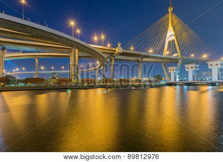 Suspension bridge Bhumibol bridge
