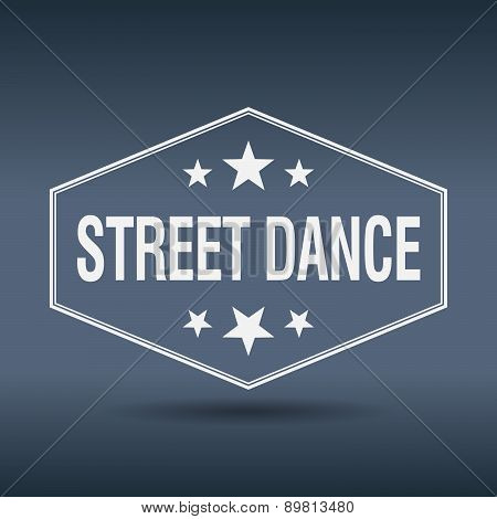 Street Dance Hexagonal White Vintage Retro Style Label