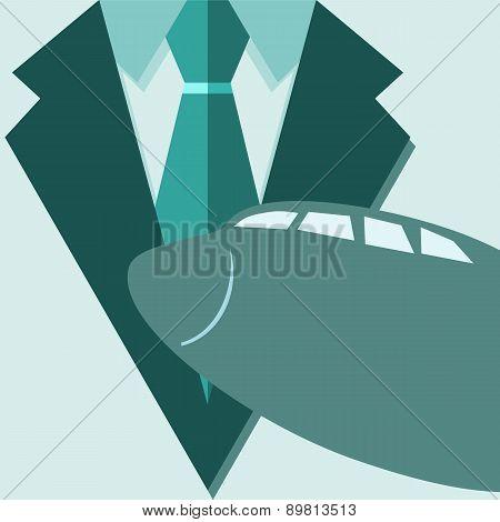 Concept Of Profession Suit. Pilot, Passenger In A Suit, The Plane. Vector Illustration