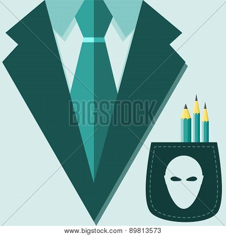 Concept Of Profession Suit. Scientist, Ufologist, Alien Head On The Pocket With A Pencil.. Vector Il