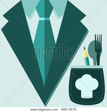 Concept Of Profession Suit. Chef, Restaurateur In A Suit, A Cap On The Pocket With A Pencil, Fork An