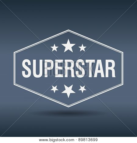 Superstar Hexagonal White Vintage Retro Style Label