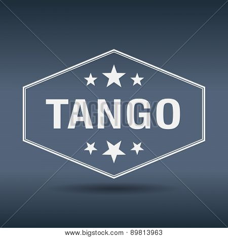 Tango Hexagonal White Vintage Retro Style Label