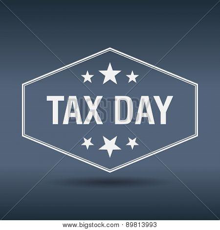 Tax Day Hexagonal White Vintage Retro Style Label
