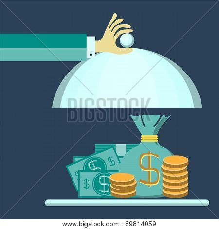 Flat Design Style Modern Vector Illustration Concept Of Businessman Offering A Money On The Serve Pl