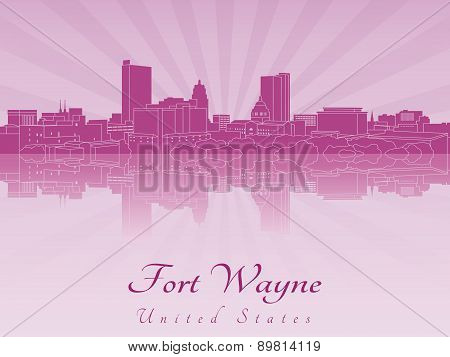Fort Wayne Skyline In Purple Radiant Orchid