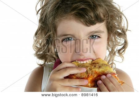 little girl eating pizza