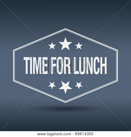 Time For Lunch Hexagonal White Vintage Retro Style Label