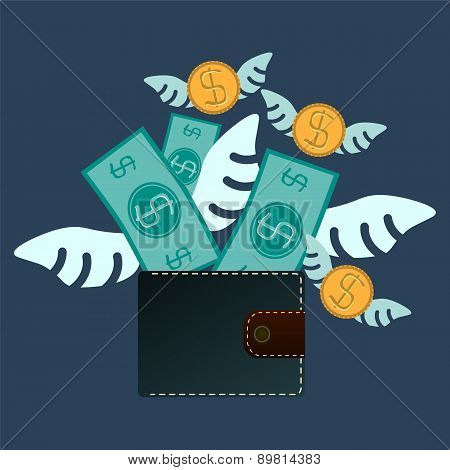 Cash Expenditure. Wallet With Money Fly Away. Business Concept
