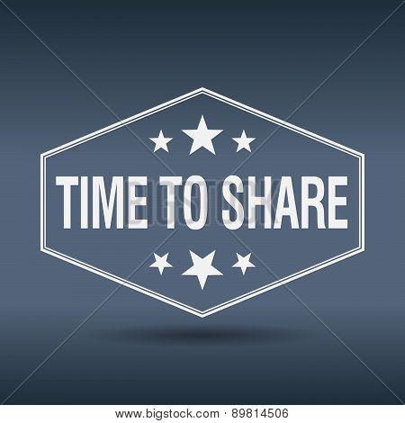 Time To Share Hexagonal White Vintage Retro Style Label