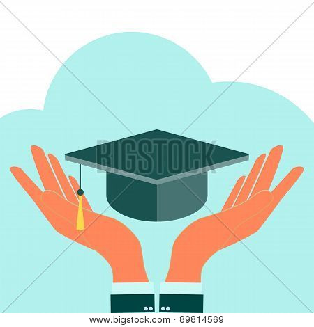 Square Academic Cap In Hands. Vector Icon. Laurel Wreath