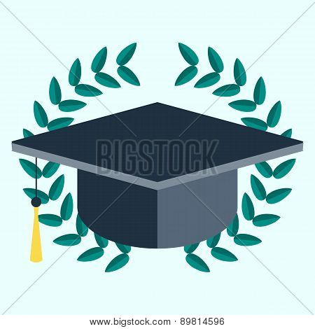 Square Academic Cap In Laurel Wreath. Vector Icon. Laurel Wreath