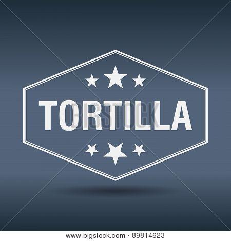 Tortilla Hexagonal White Vintage Retro Style Label