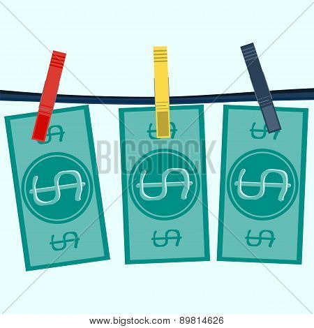 Money Laundering In Washing Machine Vector Illustration