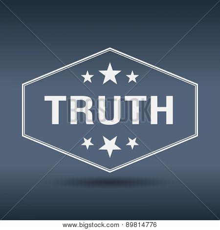 Truth Hexagonal White Vintage Retro Style Label
