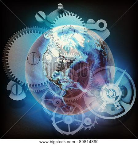 Earth model with watchwork abstract background