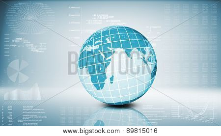 Earth model on abstract blue background