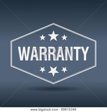 Warranty Hexagonal White Vintage Retro Style Label
