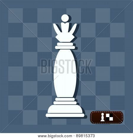 Vector Picture Of Chess. Queen On The Battlefield