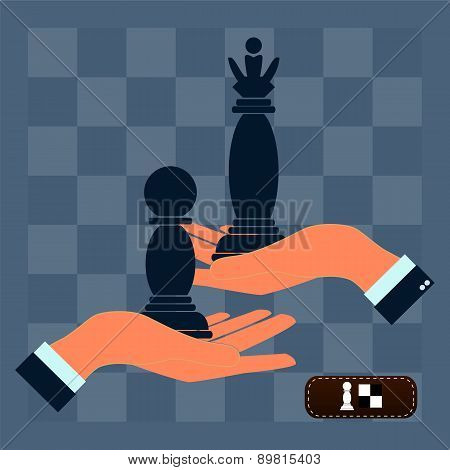 Strategy Planning Concept. Man Playing Chess And Try To Find Strategic Position. Flat Design.