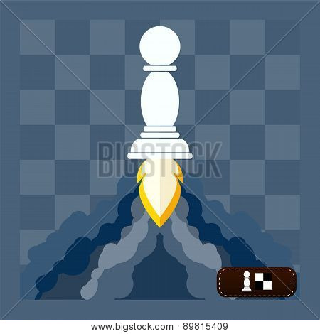 Chess Pawn And  Cloud, Circle Icon In Flat Style, Conceptual Of Start Up New Business Project, Take
