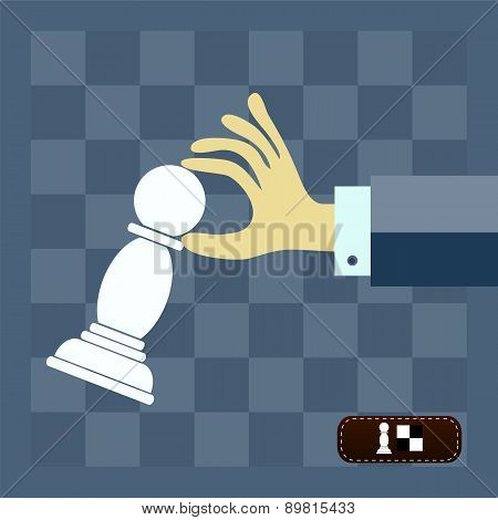 Business Strategy And Leadership Concept - Businessman Playing Chess And Making A Winning Move. Flat