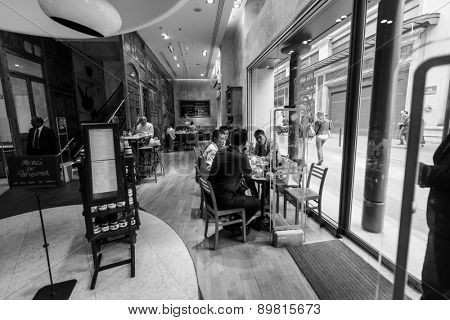 PARIS - SEPTEMBER 06: cafe interior on September 06, 2014 in Paris, France. Paris, aka City of Love, is a popular travel destination and a major city in Europe