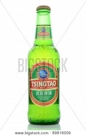 Tsingtao beer isolated on white background