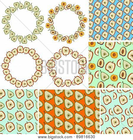 Frames and seamless patterns with hand drawn fruits