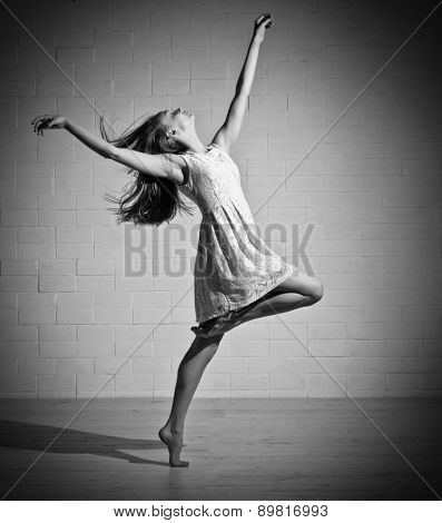 Young dancing girl in dress (monochrome ver)